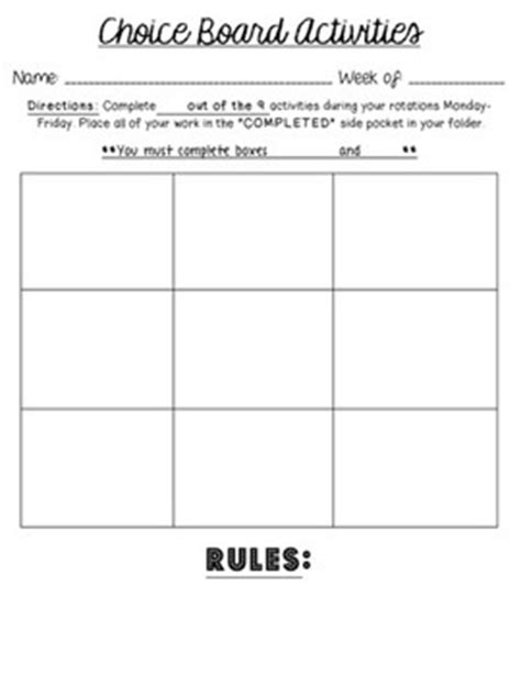 choice board template choice board template editable for literacy stations centers differentiation