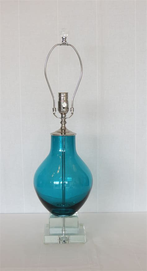 blue glass l base deep turquoise blue glass l crystal base omero home