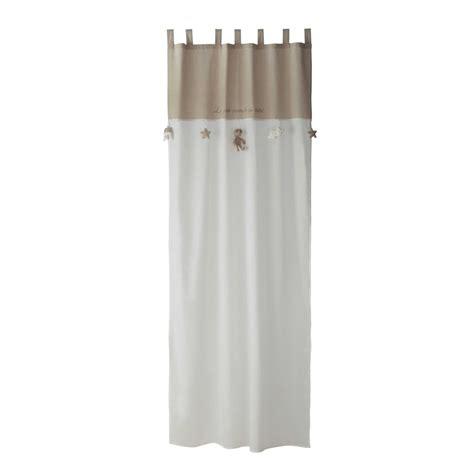 rideau 224 passants en coton blanc beige 110 x 250 cm ourson maisons du monde