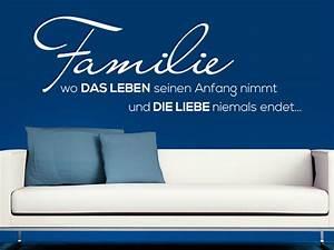 Wandtattoo Sprüche Familie : wandtattoo familie wo das leben seinen wandtattoo de ~ Frokenaadalensverden.com Haus und Dekorationen