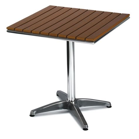 outdoor table aluminium base slatted plastic teak top