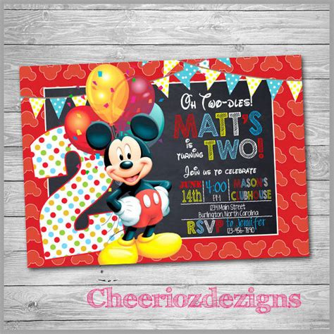 mickey mouse invitation templates   sample