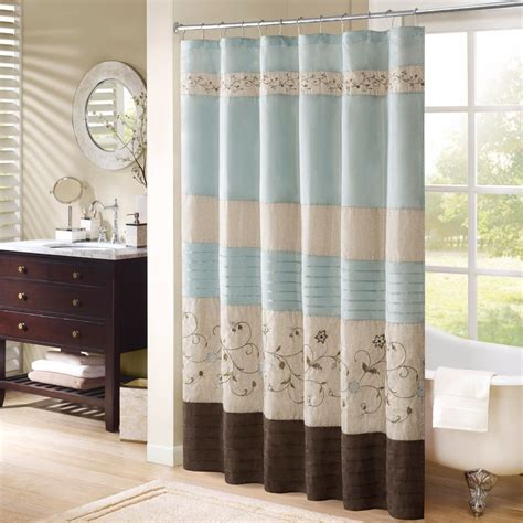 brown shower curtain embroidered shower curtain blue brown fabric bathroom