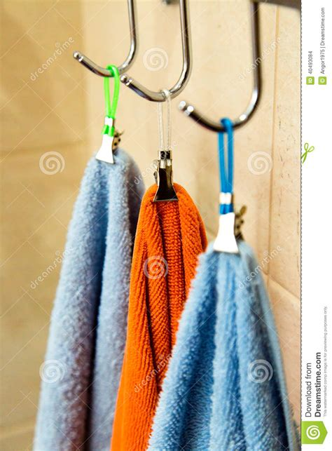 Towels Hanging In Bathroom Stock Three Towels Hanging On A Hook Stock Photo Image 40493084