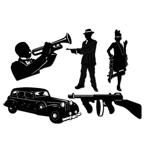 gangster 1920 39 s flapper silhouettes 5 cutouts supplies wall decorations 34689574859 ebay