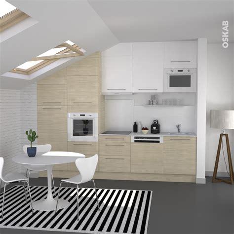 cuisine noir blanc cuisine en bois clair structuré stilo noyer blanchi