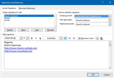 creating   managing signatures howto outlook