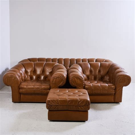 Chesterfield Leather Sofa Sale by Chesterfield Leather Sofa Set 1970s For Sale At Pamono