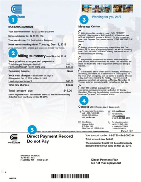 Sample Bill—Residential or Small Business | Con Edison