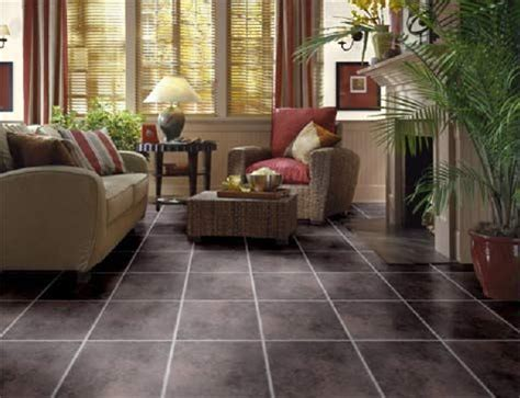 brown floor tiles in the living room floor tile