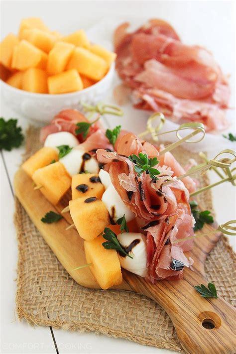 melon proscuitto  mozzarella skewers