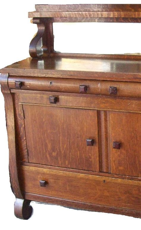 Vintage Sideboards And Buffets by Antique Tiger Oak Sideboard Buffet Mirror Shelf By