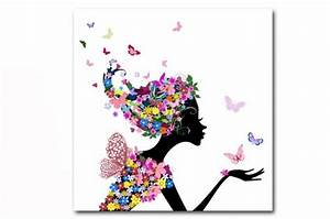 Tableau enfant fee des fleurs 50x50 cm tableaux enfants for Déco chambre bébé pas cher avec fleurs livrées