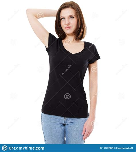 You can now use this male and female tshirt mockup to showcase your apparel design in a photorealistic look. Blank Black T-shirt Design Mockup. Women Stand Near Wal In ...