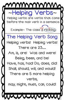 helping verbs song posteranchor chart   grade