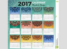 Printable Monthly Calendar 2017 Design Stock Vector