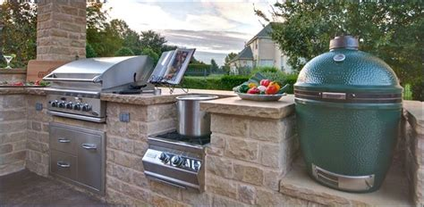 outdoor kitchen with big green egg charcoal grill big green egg kitchen design outofhome 9025