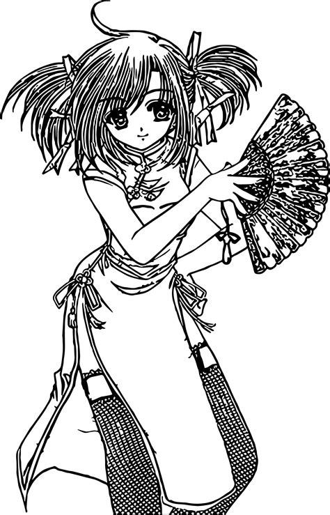 Japan Anime Girl Coloring Page Wecoloringpage com
