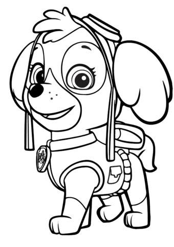 paw patrol skye coloring page  printable coloring pages