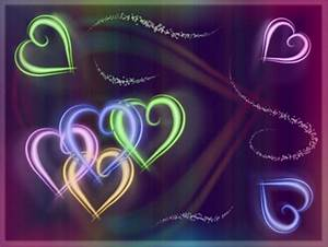 Colorful Neon Hearts Other & Abstract Background