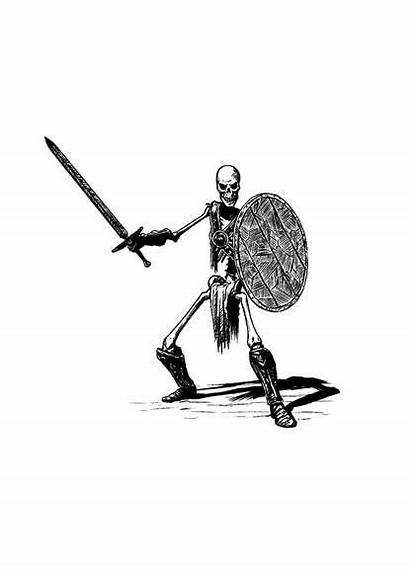 Skeleton Warrior Rpg Line Filler Spot Drivethrurpg