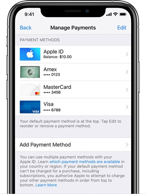 Confirm your identity using face id, touch id, or your passcode. Change, add, or remove Apple ID payment methods - Apple Support