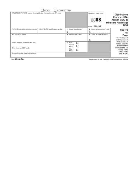 form 1099 sa distributions from an hsa archer msa or