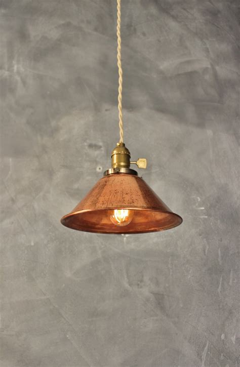 on sale weathered copper pendant l vintage industrial