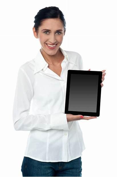 Holding Woman Ipad Pad Tablet Transparent Saleswoman