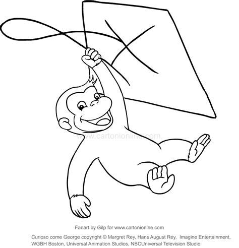 disegni da colorare di george disegno di george con l aquilone curioso come george da