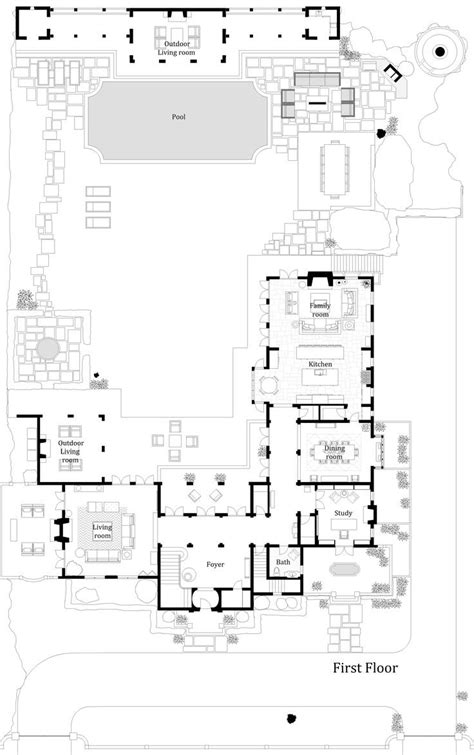 house floors  courtyard pool  shaped plans  middle house floors  courtyard pool