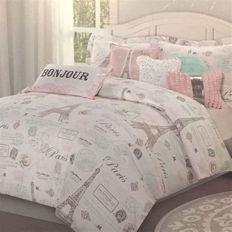 pc paris bedding set eiffel tower pink aqua twin