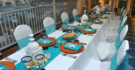 wedding reception decor ideas starfish table linens and teal