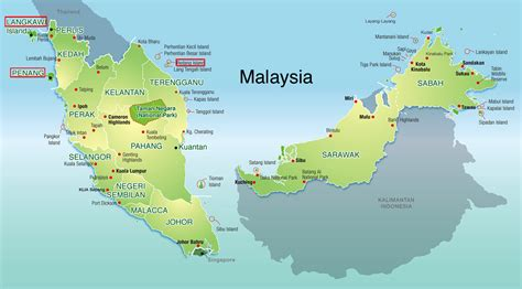 malaysia map langkawi penang