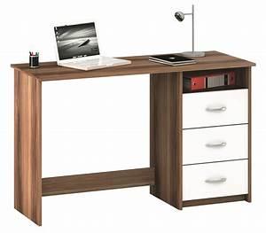 Schreibtisch 90 Cm : schreibtisch aristote nussbaum weiss mit 3 schubk sten ablage ~ Whattoseeinmadrid.com Haus und Dekorationen