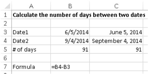 calculate number days excel learn