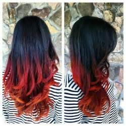 Black Red Orange Ombre Hair