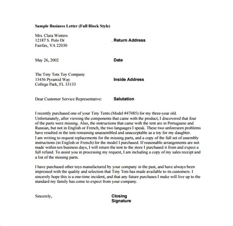 sample closing business letter  documents   word