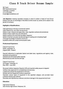 driver resumes class b truck driver resume sample With resume samples for truck drivers with an objective
