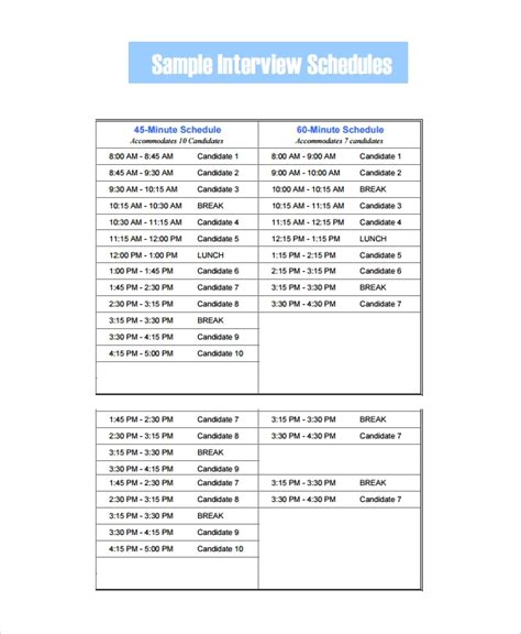 sample interview schedule templates   ms word