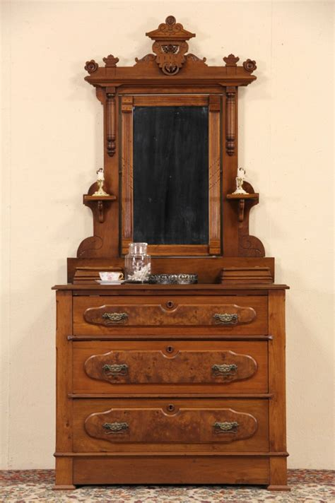 sold victorian eastlake  antique walnut dresser  chest mirror jewelry boxes harp gallery