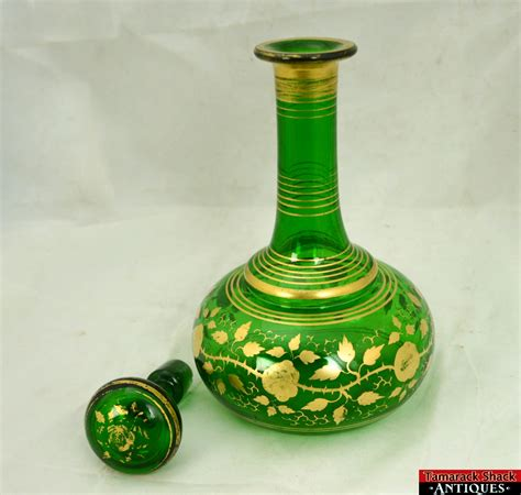 vintage green glass l vintage emerald green heavy glass gold gilded leaves