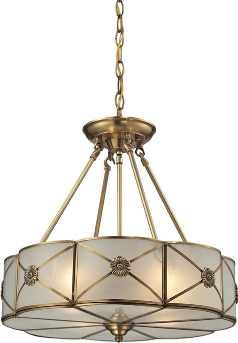 elk   preston brushed brass hanging light fixture