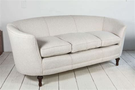 Oval Loveseat by Oval Back Curved Sofa In Linen At 1stdibs