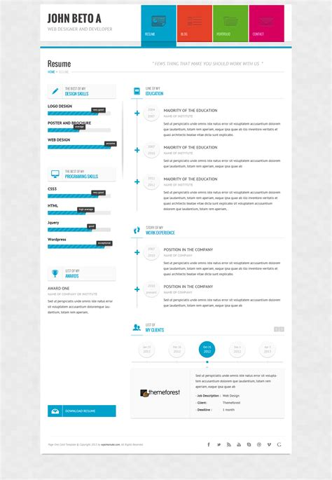page one responsive vcard resume html template by