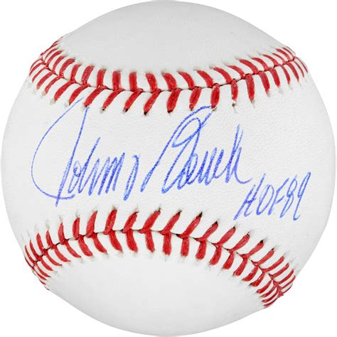 johnny bench autograph johnny bench cincinnati reds autographed baseball with hof