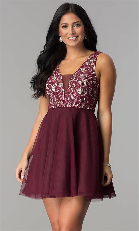 Junior-Size Wine Red A-Line Homecoming Dress -PromGirl