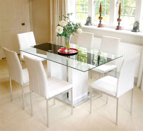 florence high gloss white 6 seater glass dining table only