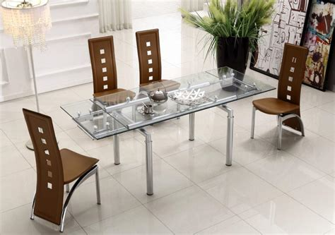 glass top dining table sets extendable clear glass top leather modern dining table