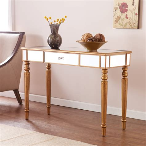 mirror console table illusions collection mirrored console table desk walmart